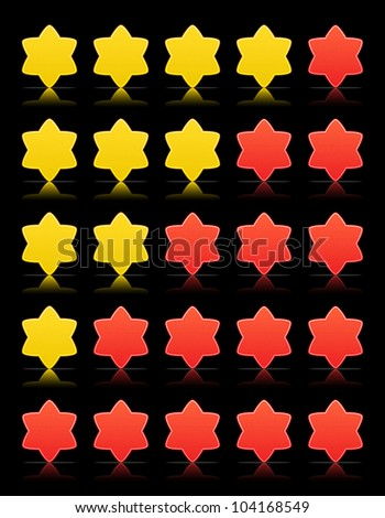 Five six-pointed stars ratings web button. Red and yellow shapes with shadow and reflection on black, 10eps.