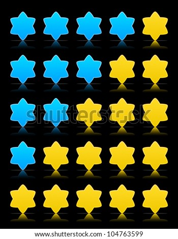Five six-pointed stars ratings web button. Yellow and blue shapes with shadow and reflection on black, 10eps.
