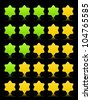 Five six-pointed stars ratings web button. Yellow and green shapes with shadow and reflection on black, 10eps. - stock vector