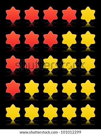 Five six-pointed stars ratings web 2.0 button. Yellow and red shapes with shadow and reflection on black, 10eps.