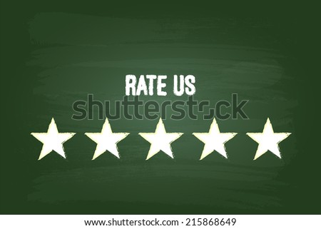 Five Star Feedback Rate Us On Green Blackboard - stock vector