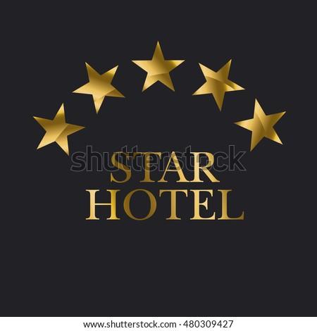 Five Star Hotel Gold Icon Vector Yellow Stars Pictogram Art Symbol Illustration