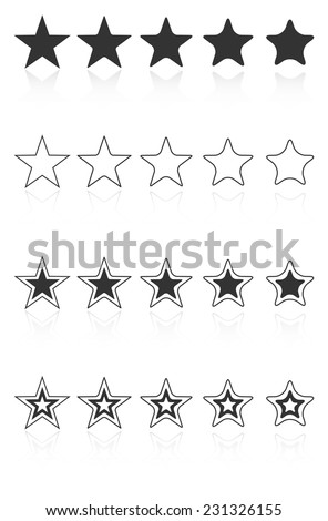 Five Star Quality Award Icons With Reflection - stock vector