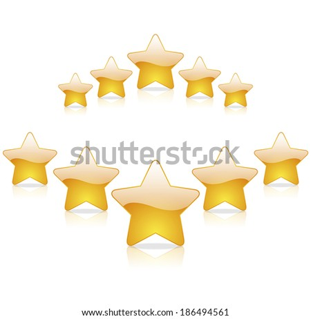 five star rating on a white background - stock vector