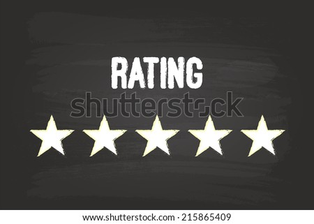 Five Star Rating On Blackboard With White Chalk - stock vector