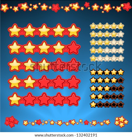 five star rating, star borders and blue shining background in one file. Contrast rating icons in three variations. cartoon style - stock vector