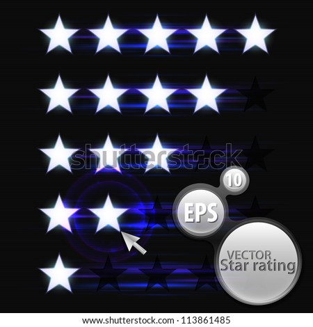 Five star rating vector eps10 elements, glowing white stars over dark background - stock vector