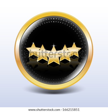 Five stars button with golden edges - stock vector