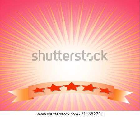 five stars on ribbon and shiny sun vector, sunbeams, sundays background . Vector eps10