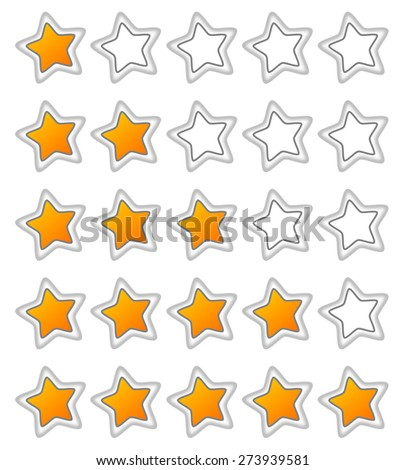 Five stars ratings web button - stock vector
