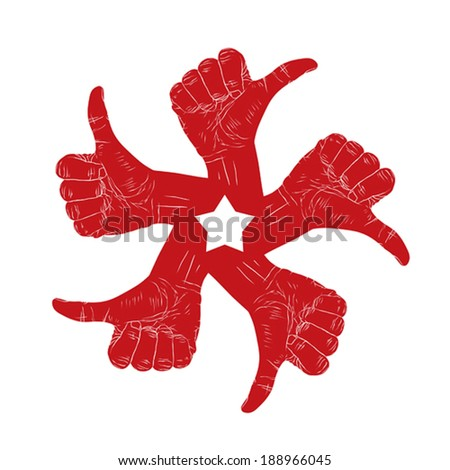 Five thumb up hand signs in round abstract symbol with pentagonal star, black and white vector special emblem with human hands. - stock vector
