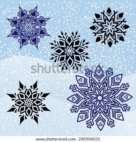 Five Unique snowflakes graphic design  - stock vector