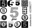 FIVE. Vector great collection. - stock photo