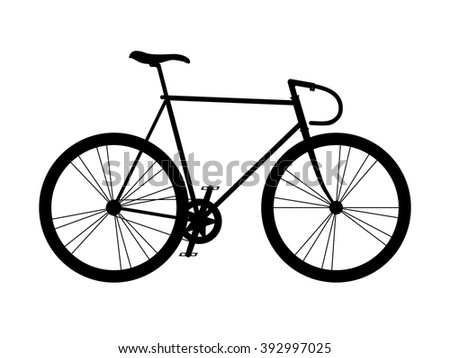 Fixed gear bicycle. Black silhouette. Vector illustration.