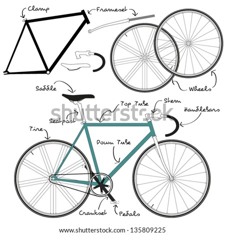 Fixie Bike with detailful parts and naming. - stock vector