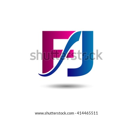 FJ letter icon logo connected  - stock vector