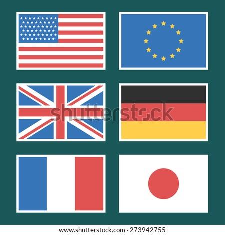 Flag America, European Union, Germany, France, Japan - stock vector