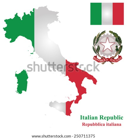 Flag and coat of arms of the Italian Republic overlaid on detailed outline map isolated on white background