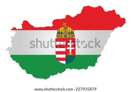 Flag and coat of arms of the Republic of Hungary overlaid on outline map isolated on white background  - stock vector