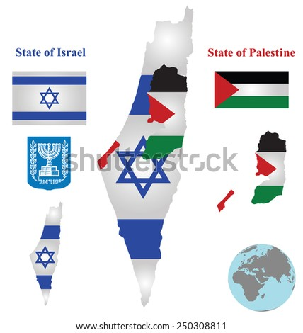 Flag and coat of arms of the State of Israel and the State of Palestine overlaid on detailed outline map isolated on white background  - stock vector