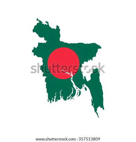 Flag and map of Bangladesh