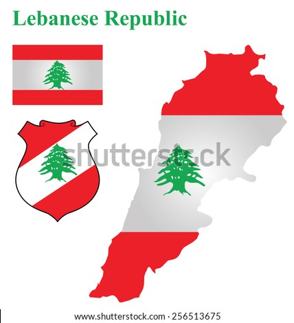 Flag and national coat of arms of the Lebanese Republic overlaid on detailed outline map isolated on white background  - stock vector