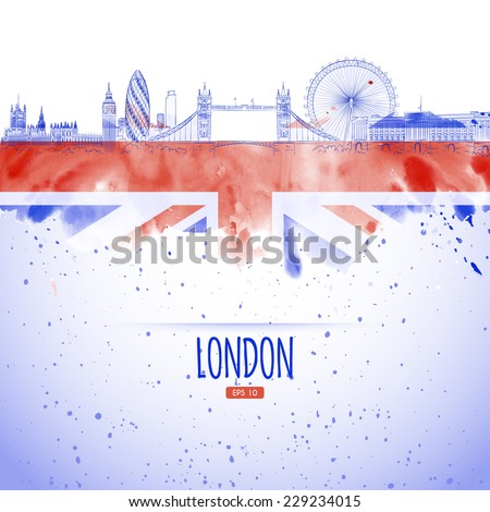 flag and the panorama of the city of London landmarks painted in the style of the sketch and watercolor. - stock vector