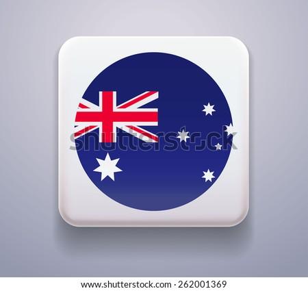 Flag as a button. Image. Vector. Icon. Flag of Australia - stock vector