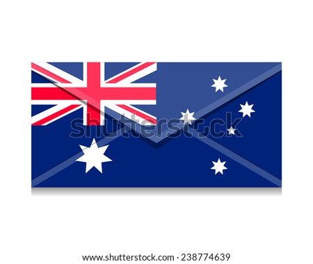 Flag as an open envelope with a letter. Flag of Australia, Canberra - stock vector