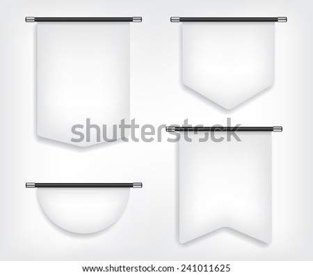 Flag banner different shapes illustration - stock vector