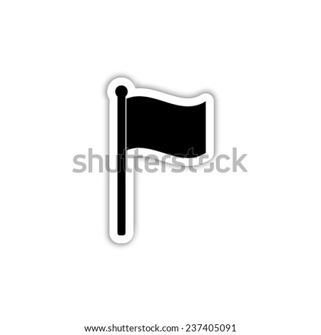 flag  - black vector icon with shadow - stock vector