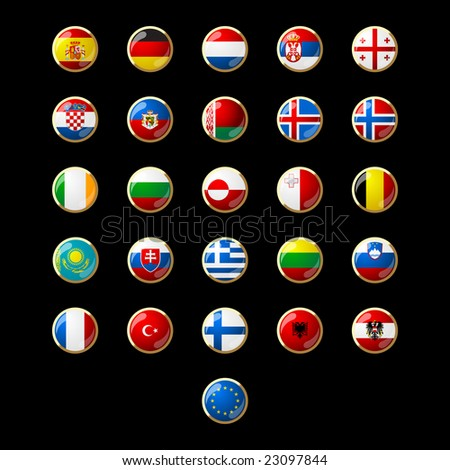 Flag button seeries Europe 002 - stock vector