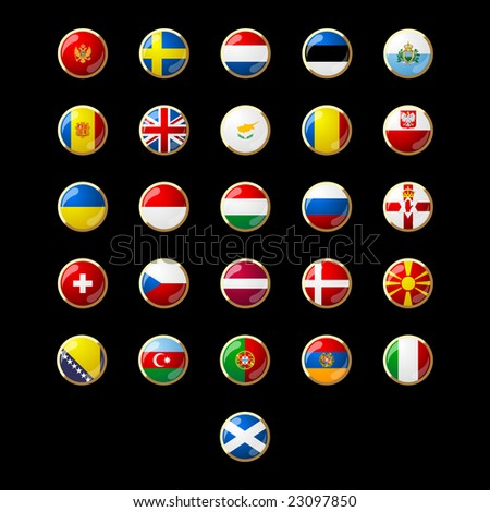 Flag button seeries Europe 001 - stock vector
