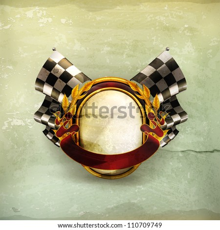 Flag checkered emblem, old-style vector - stock vector