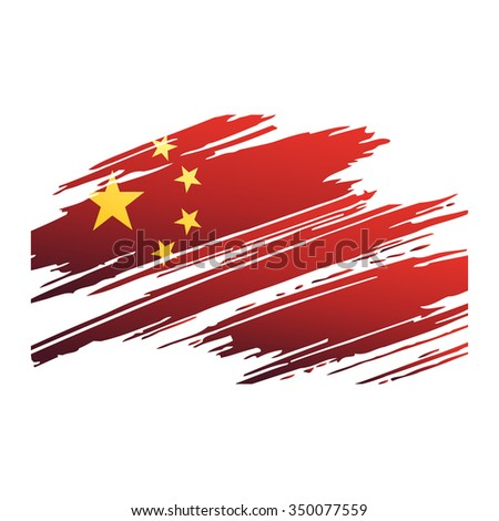 Flag China in the form traces brush isolated vector - stock vector