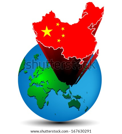 Flag China map on the earth - stock vector