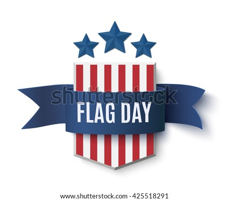 Flag Day background template. Badge with blue isolated on white. Vector illustration. - stock vector