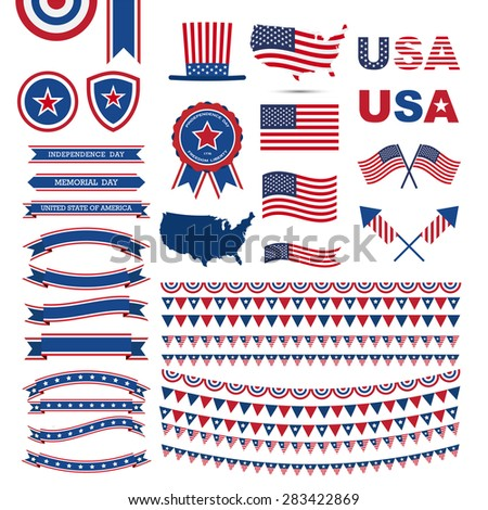 Flag Day, independence day design element, USA flag pattern element