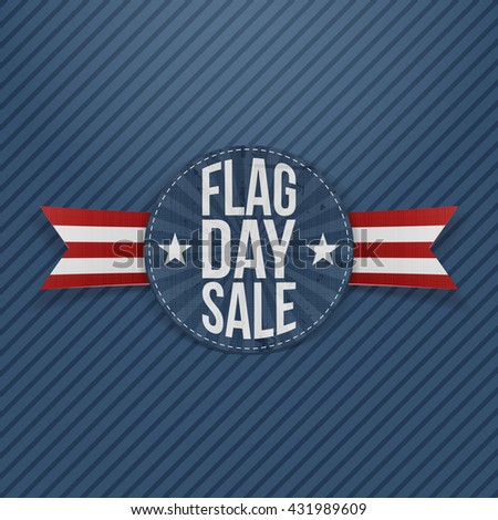 Flag Day Sale patriotic Label with Text and Shadow