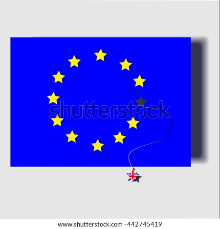 Flag Euro 1 star gone, the stars were out of the flag pattern British flag. / illustrations event vector