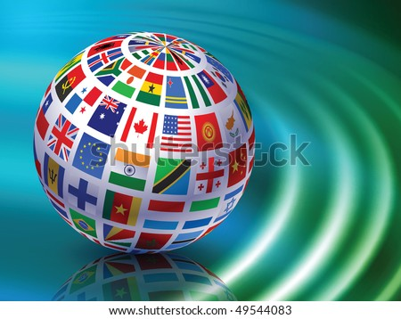 Flag Globe on Abstract Liquid Wave Background Original Vector Illustration