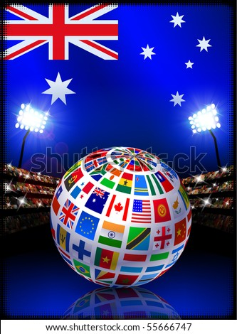 Flag Globe on Australia Stadium Soccer Match Original Illustration