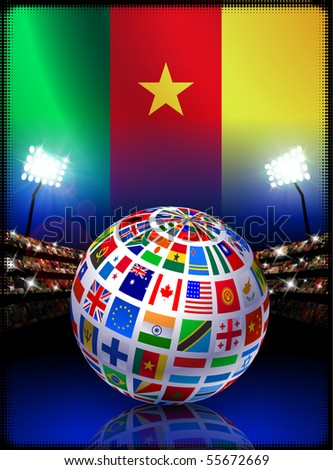 Flag Globe on Cameroon Stadium Soccer Match Original Illustration