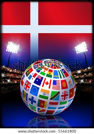 Flag Globe on Denmark Stadium Soccer Match Original Illustration