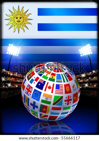 Flag Globe on Uruguay Stadium Soccer Match Original Illustration