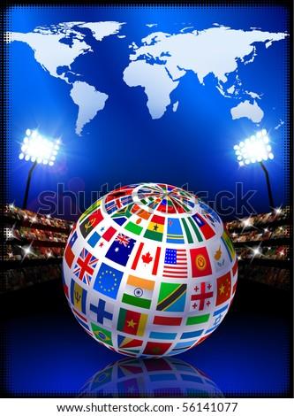 Flag Globe with World Map on Stadium Background Original Illustration - stock vector