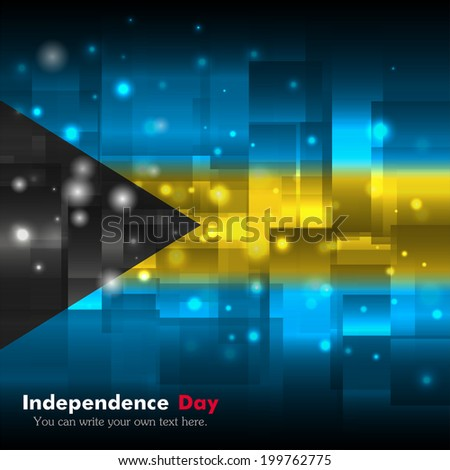 Flag. Glowing background with flag colors. Independence Day. Techno background. Abstract background. Used as an background, card, greeting, printed materials. Flag of Bahamas