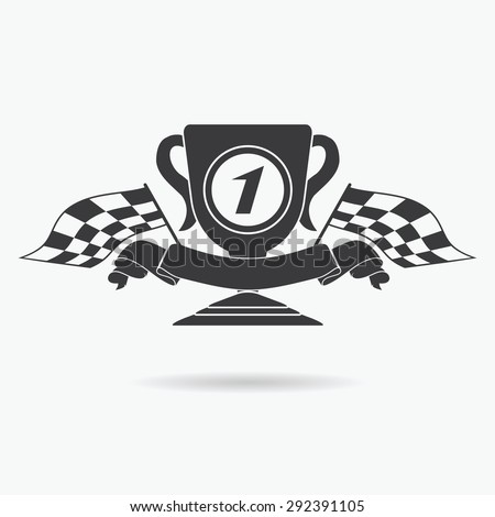 Flag icon. Checkered or racing flags first place prize cup and finish ribbon. Sport auto, speed and success, competition and winner, race rally, vector illustration. - stock vector