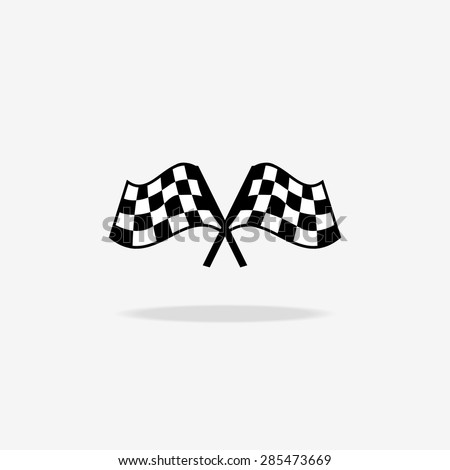 Flag icon. Checkered or racing flags. Sport auto, speed and success, competition and winner, race rally, vector illustration - stock vector