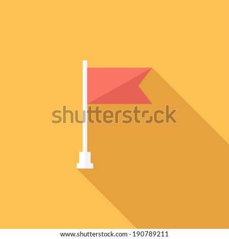 Flag icon. Flat design style modern vector illustration. Isolated on stylish color background. Flat long shadow icon. Elements in flat design. - stock vector
